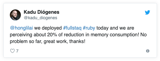 @honglilai  we deployed #fullstaq #ruby today and we are perceiving about 20% of reduction in memory consumption! No problem so far, great work, thanks!
